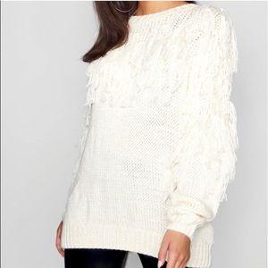 Boohoo Cream Fringe Tassel Oversized Sweater S/M